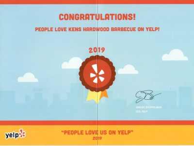 Yelp 2019 Certificate